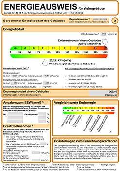 Energieausweis - Bedarfsausweis Muster