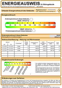 Energieausweis - Verbrauchsausweis Muster