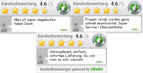 Über 2.500 Kundenbewertungen für Energieausweis-online-erstellen.de gibt es bei der Bewertungsplattform eKomi.